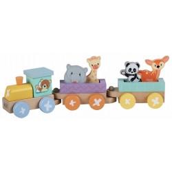 Kolejka drewniana lokomotywa + 2 wagony towarowe