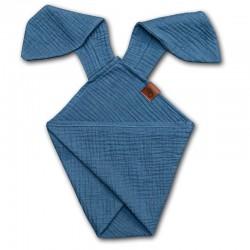 Hi Little One - Pieluszka dou dou uszami królika z organicznej BIO bawełny GOTS cozy muslin with ears 2in1 Jeans