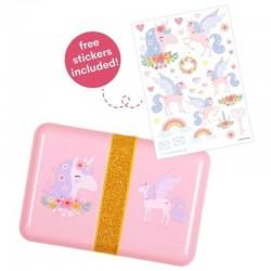 A Little Lovely Company - Śniadaniówka Lunchbox Jednorożec z naklejkami