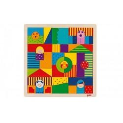 GOKI Drewniane puzzle mozaika Farma
