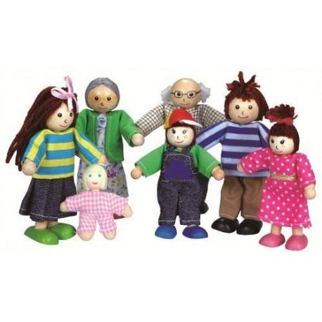 Drewniane lalki do domku dla lalek - rodzinka