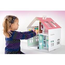 Kartonowy domek marzeń dla lalek do malowania