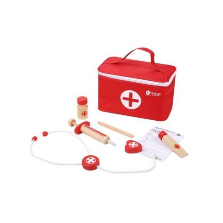 Zestaw lekarza doktor w walizce czerwony
