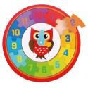 Układanka zegar do nauki z sową 2w1