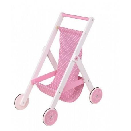 Różowy wózek spacerowy dla lalek drewniany