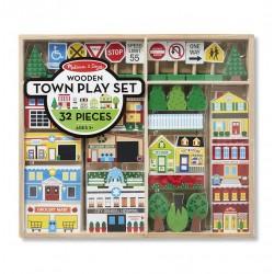 Drewniane miasteczko zestaw do układania
