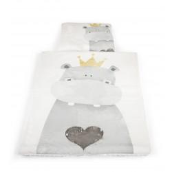 Zestaw kocyk i poduszka HIPOPOTAM z polaru Minky