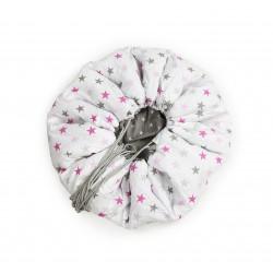 Mata do zabawy/worek na zabawki 2w1 szare/różowe gwiazdki 150 cm