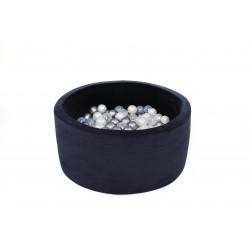 Suchy basen dla dzieci z piłeczkami 90x40 okrągłu 200 piłek - granat VELVET