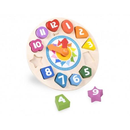 Zegar z kolorowymi klockami