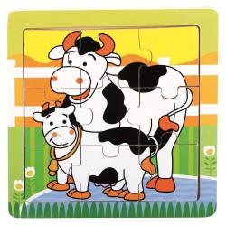 Drewniane puzzle dla dziecka Farmino krówki