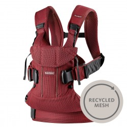 BABYBJORN ONE AIR - nosidełko, Burgundy Recycled Mesh