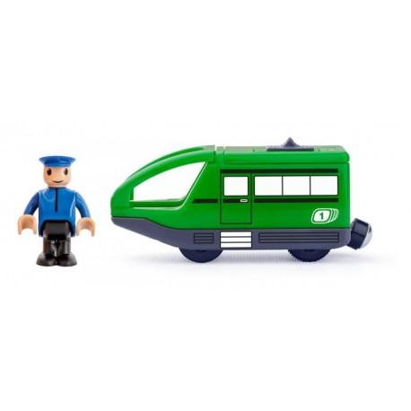 Pociąg z maszynistą na baterie zielony