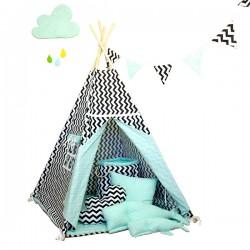Namiot tipi dla dziecka Miętowy Szyk - zestaw maxi