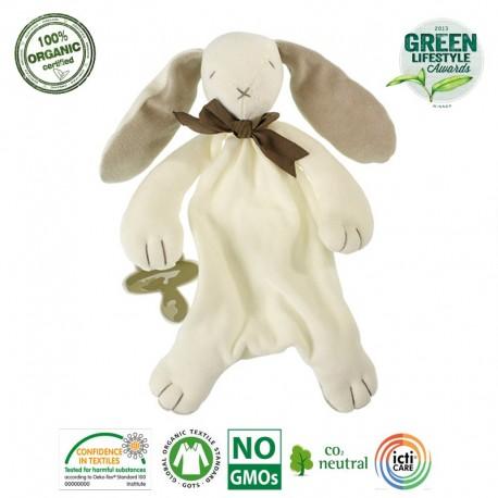 Maud N Lil Ears The Bunny Comforter Organiczny Mięciutki Pocieszyciel dou dou z łapką na smoczek