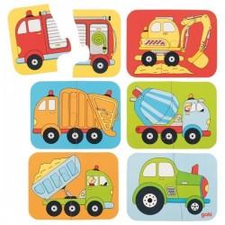 Puzzle małe pojazdy - zestaw 6 sztuk