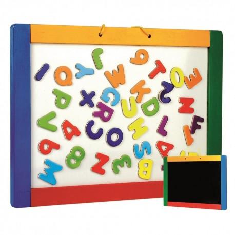 Dwustronna tablica magnetyczna i kredowa z literkami