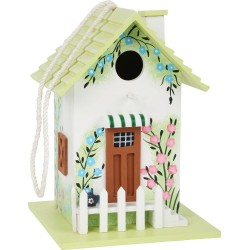 Domek dla ptaków - ozdobna budka lęgowa z zielonym dachem