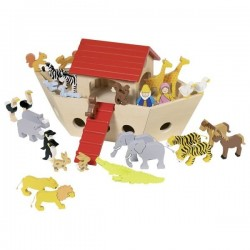 Drewniana Arka Noego ze zwierzętami