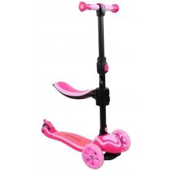 Rowerek biegowy i hulajnoga Flash - różowa
