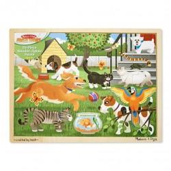 Duże drewniane puzzle – Zwierzęta domowe - 24 el.