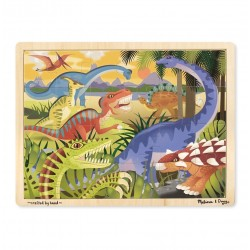 Duże drewniane puzzle – Dinozaury - 24 el.
