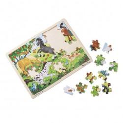 Duże drewniane puzzle – Konie – 48el.