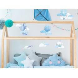 Naklejka na ścianę - balony - niebieskie