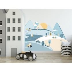 Naklejki na ścianę - Góry - błękitne S