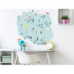 Naklejka na ścianę - mapa Polski - miętowa S