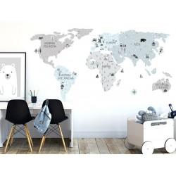 Naklejka na ścianę - mapa świata - eco S