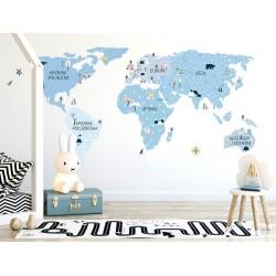 Naklejka na ścianę - mapa świata -ice cold M