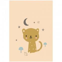 Petit Monkey - Poster Leopard pastel peach 42 x 29,7 cm
