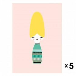 Petit Monkey - Miss Beehive zaproszenia urodzinowe zestaw 5 szt.