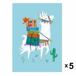 Petit Monkey - Travelling Lama zaproszenia urodzinowe zestaw 5 szt.